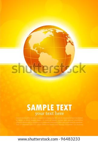 Orange background with globe - stock vector