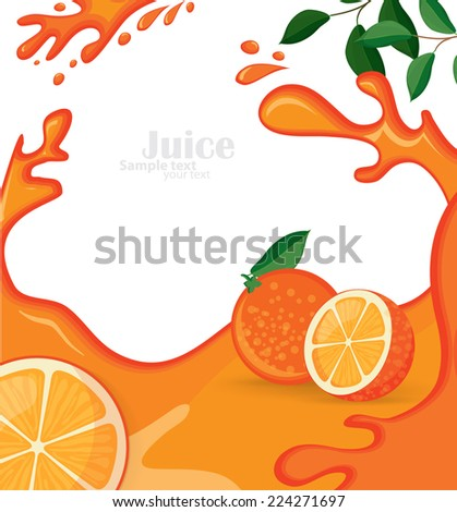 orange background with juice and orange - stock vector