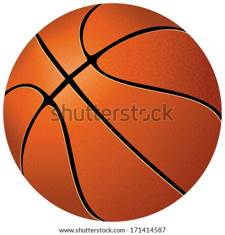 Orange basket ball, isolated in white background and path - stock vector