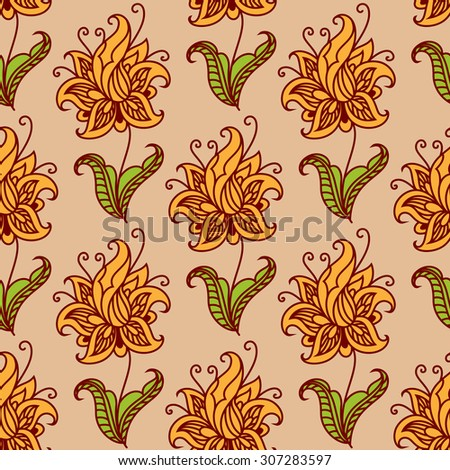 Orange blooming flowers on green leafy stems adorned by floral twirls seamless pattern for wallpaper or fabric design - stock vector