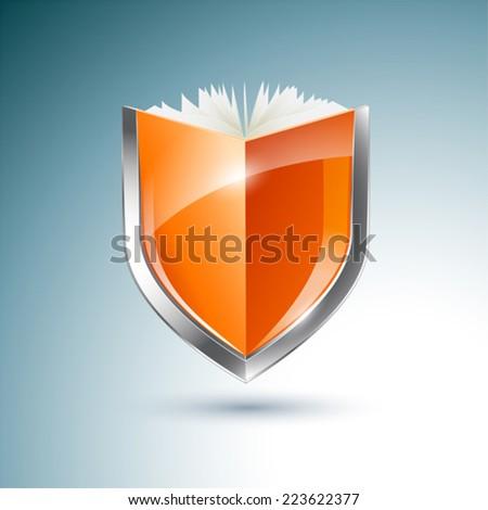 Orange book and shield vector illustration  - stock vector