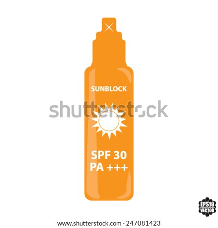Orange Bottle Spray SPF 30 PA+++ For Skin And Face Sun Block Icon Isolated on White Background - Vector illustration. - stock vector