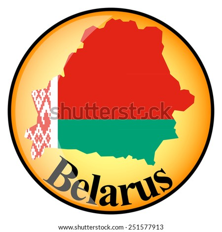 orange button with the image maps of button Belarus in the form of national flag  - stock vector