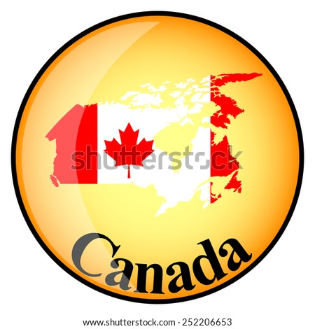 orange button with the image maps of Canada in the form of national flag - stock vector