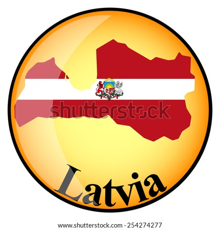 orange button with the image maps of Latvia in the form of national flag - stock vector