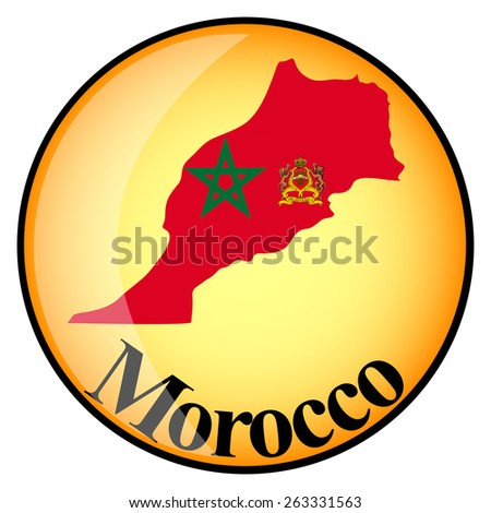 orange button with the image maps of Morocco in the form of national flag - stock vector