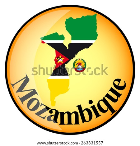 orange button with the image maps of Mozambique in the form of national flag - stock vector