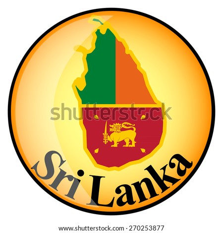 orange button with the image maps of Sri Lanka in the form of national flag - stock vector