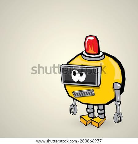 orange Cartoon Robot Isolated on white - stock vector