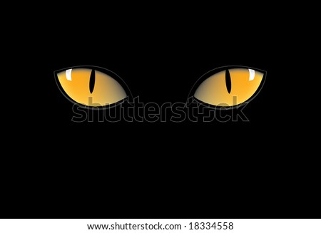 orange cat eyes in dark night - stock vector