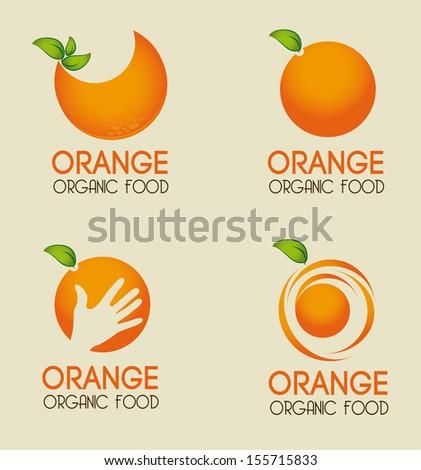 orange citrus fruit  over beige background vector illustration  - stock vector