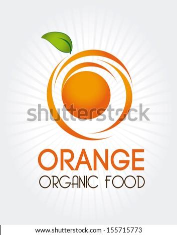 orange citrus fruit  over gray background vector illustration  - stock vector