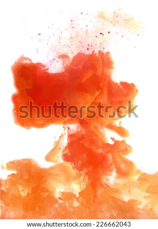 Orange cloud of ink swirling in water. Abstract background - stock vector