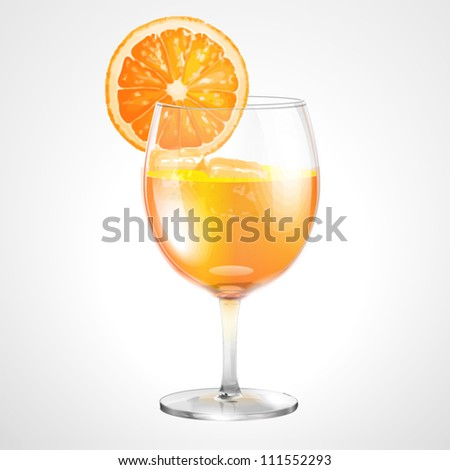 Orange cocktail in a glass for coctail a white background - stock vector
