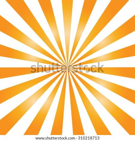 Orange color burst background or sun rays background. Vector illustration - stock vector