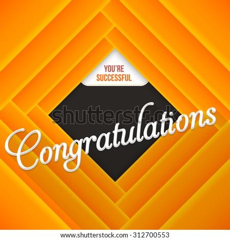 Orange Colors Congratulations Lettering, Movie Style Background Design - stock vector