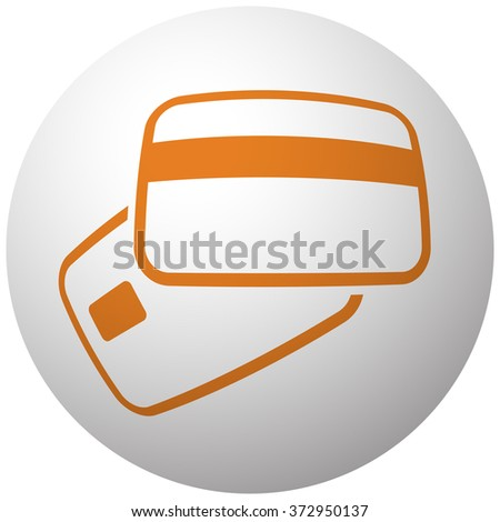 Orange Credit Card Payment icon on sphere isolated on white background - stock vector