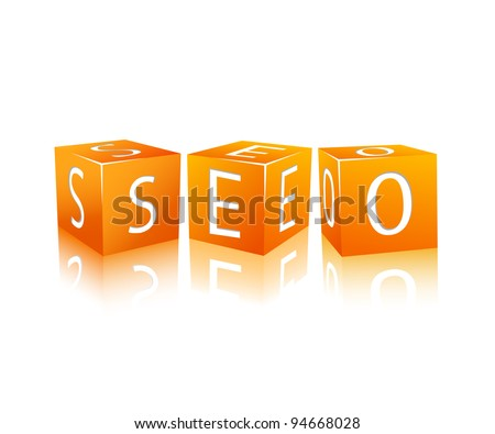 Orange Cubes Isolated on White. Word SEO. Vector - stock vector