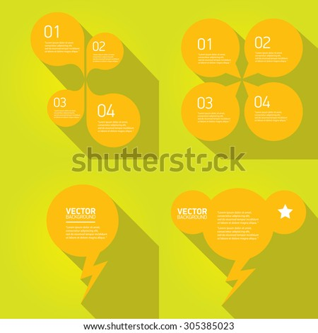 orange cut paper speech bubbles on green. speech bubbles set. vector illustration - stock vector