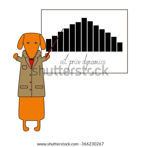 Orange dachshund in beige jacket, white shirt, red tie standing on hind legs with dissolved forelegs, holding red pointer presents the oil price graphic with calligraphic lettering oil price dynamics - stock vector