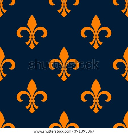 Orange fleur-de-lis floral seamless pattern of pointed buds with curved leaves on both sides, arranged into iris flowers ornament over blue background. Vintage interior or heraldic theme design - stock vector
