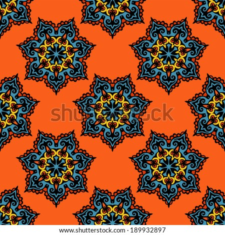Orange Floral festive vector pattern - stock vector