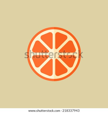 Orange. Food Flat Icon - stock vector