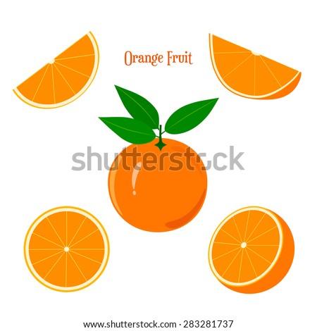 Orange Fruit. Orange fruit and orange slice on a white background. - stock vector