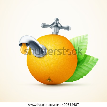 Orange fruit with water tap concept eps10 vector illustration - stock vector