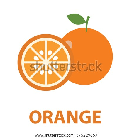 Orange fruits poster in cartoon style depicting whole and half of fresh juicy citruses with green stalk and leaf isolated on white background  - stock vector