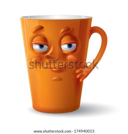 orange funny cup - stock vector