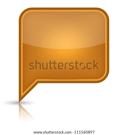 Orange glossy empty speech bubble web button icon. Rounded rectangle shape with black shadow and reflection on white background. - stock vector