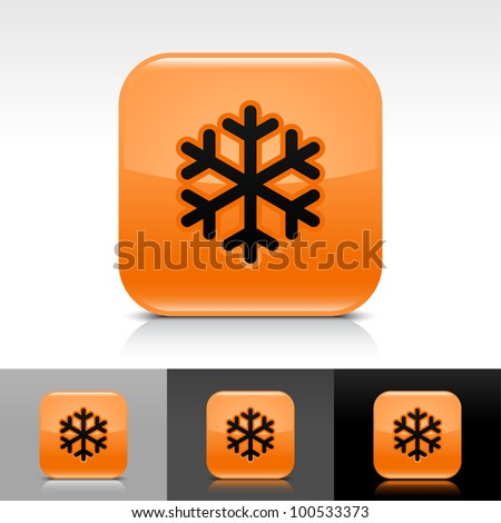 Orange glossy web button with low temperature black snowflake sign. Rounded square shape icon with shadow, reflection on white, gray, black background. - stock vector