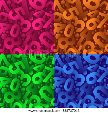 Orange green pink blue numbers seamless vector pattern set - stock vector