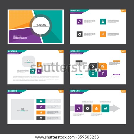 Orange green purple presentation template Infographic elements flat design set for brochure flyer leaflet marketing advertising - stock vector