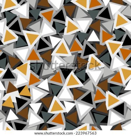 orange, grey, black, white triangles seamless pattern - stock vector
