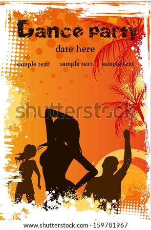 Orange grunge palm background with dancing people - party poster template - stock vector