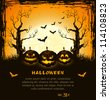 Orange grungy halloween background with scary pumpkins, full moon, trees and bats.  Vector Illustration. - stock vector