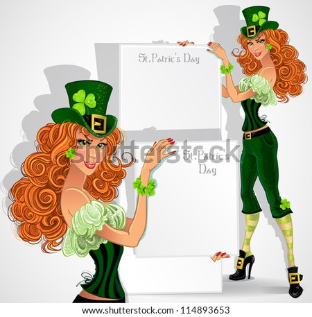 Orange-haired Leprechaun girl with placard for text - stock vector