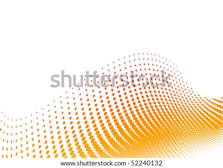 Orange halftone background on the white - stock vector