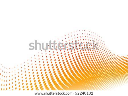 Orange halftone background on the white - stock vector