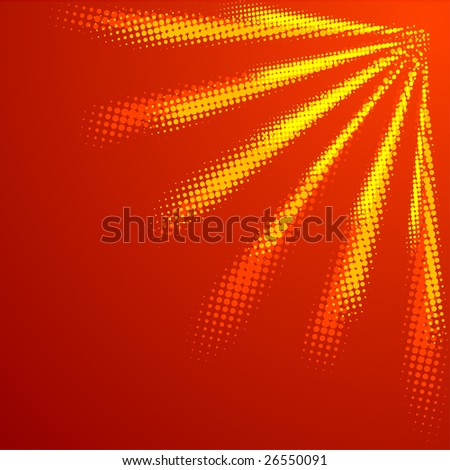 Orange halftone sun. Vector illustration. - stock vector