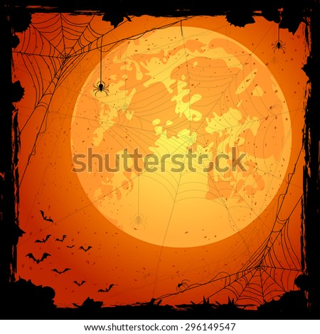 Orange Halloween background with spiders and bats, illustration. - stock vector