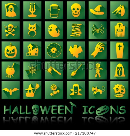 orange halloween icons shadow style - stock vector