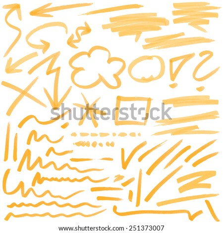 orange hand drawn colored markings from a highlighter - stock vector