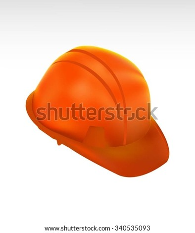 Orange Hard Cap.Helmet Isolated - stock vector