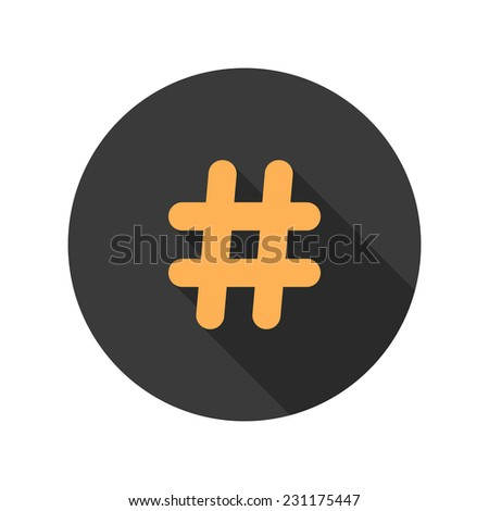orange hashtag icon in circle with long shadow. concept of number sign and social media. isolated on white background. trendy modern vector illustration - stock vector