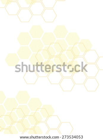 Orange honey comb pattern over white background - stock vector