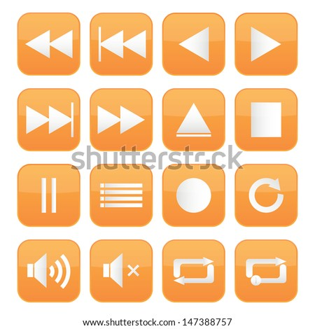 Orange icon multimedia set - stock vector
