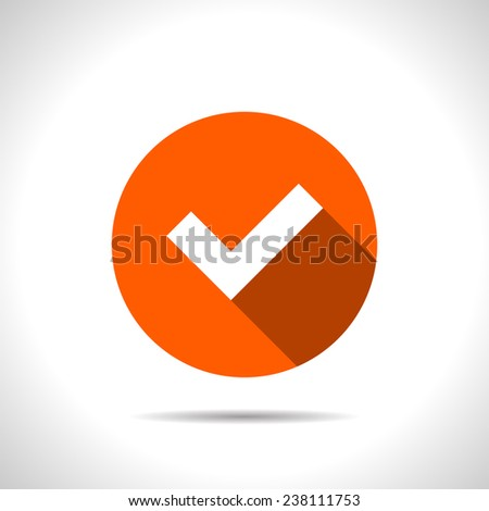 orange icon of check - stock vector